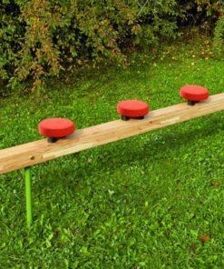 Balancing beam with wobbling discs